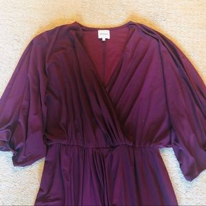 Stunning Burgundy Faux Wrap Dress with Tulip Hem